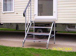 Access caravan steps Devon